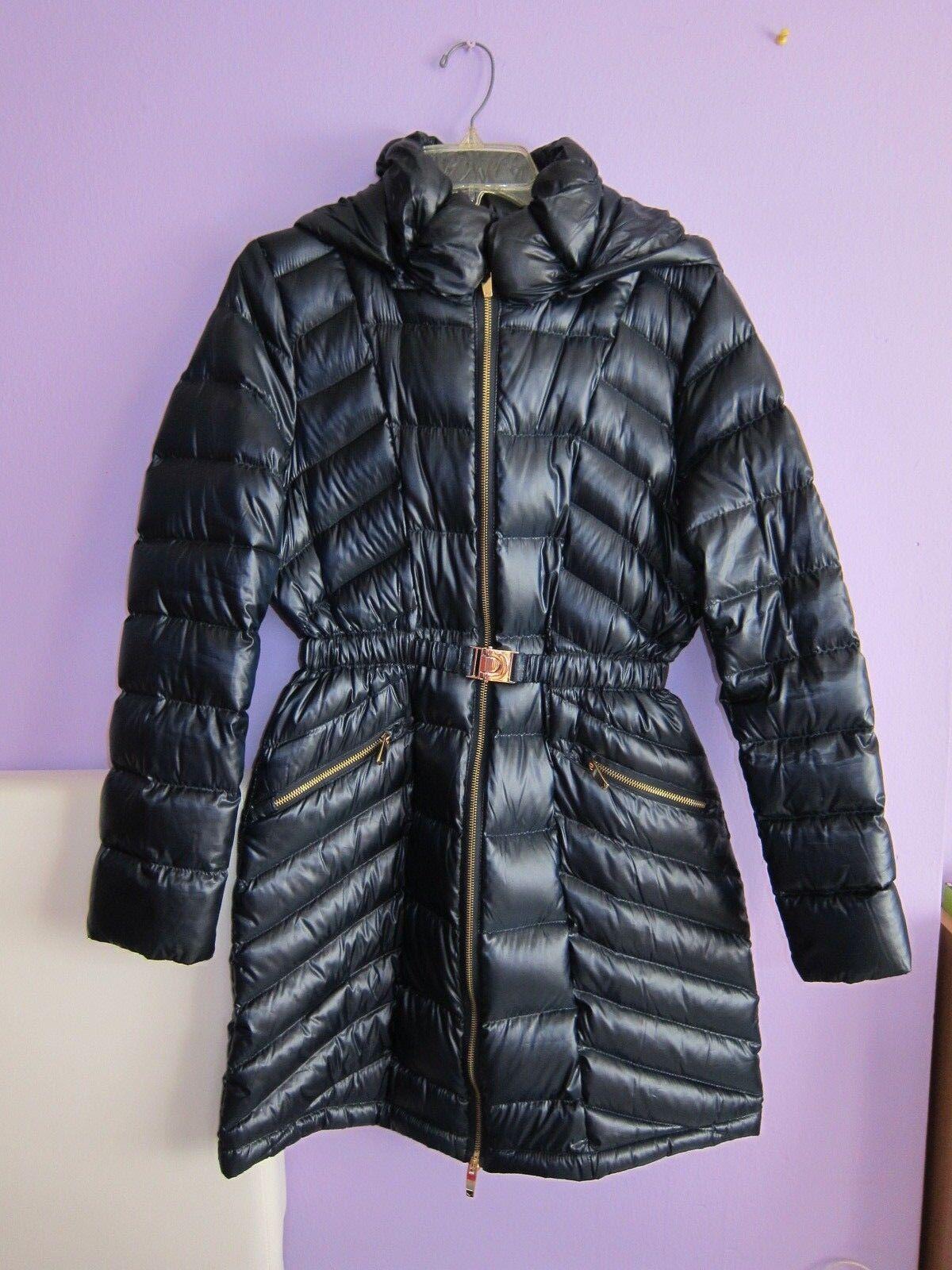 1a05831bc Via Spiga Women's Metallic Packable Down Coat Jacket With Belt Navy Medium