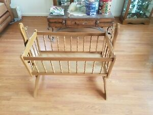 Marvelous Details About Antique Vintage Wood Baby Cradle Rocking Crib 38 X 17 X 36 Squirreltailoven Fun Painted Chair Ideas Images Squirreltailovenorg