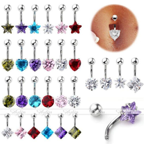 1//4//6pc Stainless Steel Cubic Zirconia Crystal Belly Button Navel Ring Barbell