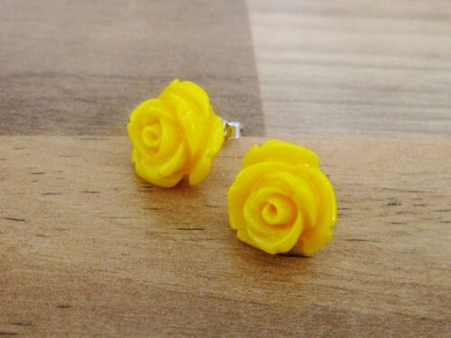 15 Mm De Ancho Plata Esterlina 925-Resina Rose En Forma De Aretes 8 Colores