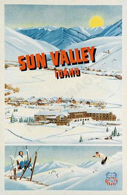 Sun Valley idaho vintage ski travel poster 16x24