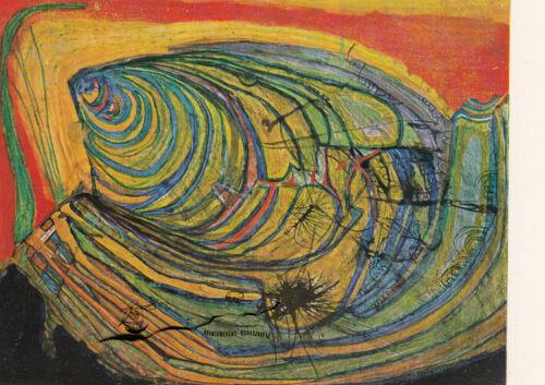 Hundertwasser Die Wellen des Igels Postcard Art Kunstkarte