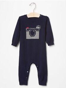 GAP Baby Boys 6-12 Months Navy Blue Camera Intarsia One-Piece Sweater Bodysuit