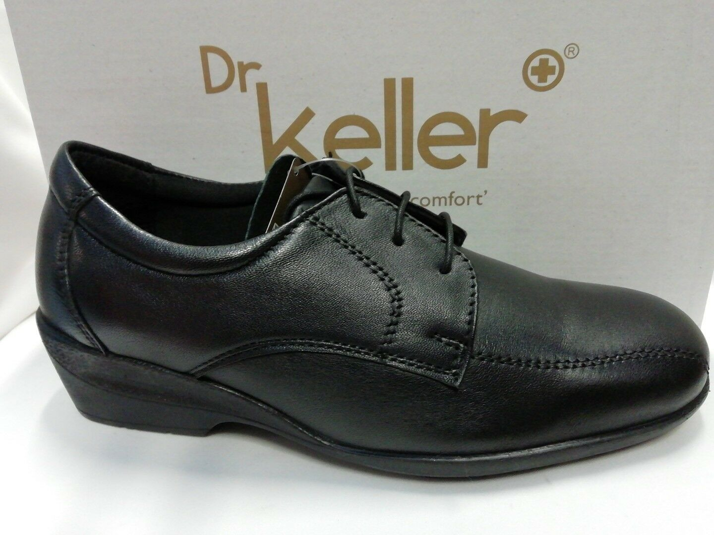 WOMENS LADIES DR KELLER BLACK LEATHER LACE UP COMFORT FIT CASUAL WORK SHOES NEW
