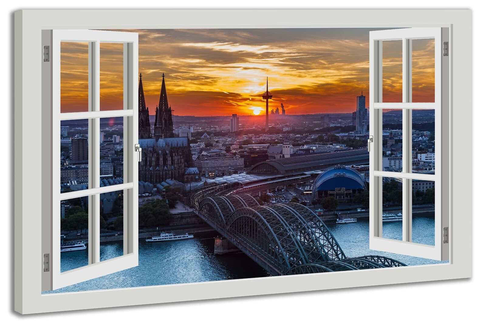Toile la fresque fenêtre vue Cologne coucher coucher Cologne de soleil paysage 9452ab