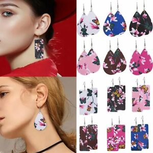 Women-Flower-Butterfly-Print-Leather-Earrings-Teardrop-Geometric-Ear-Dangle-Hook