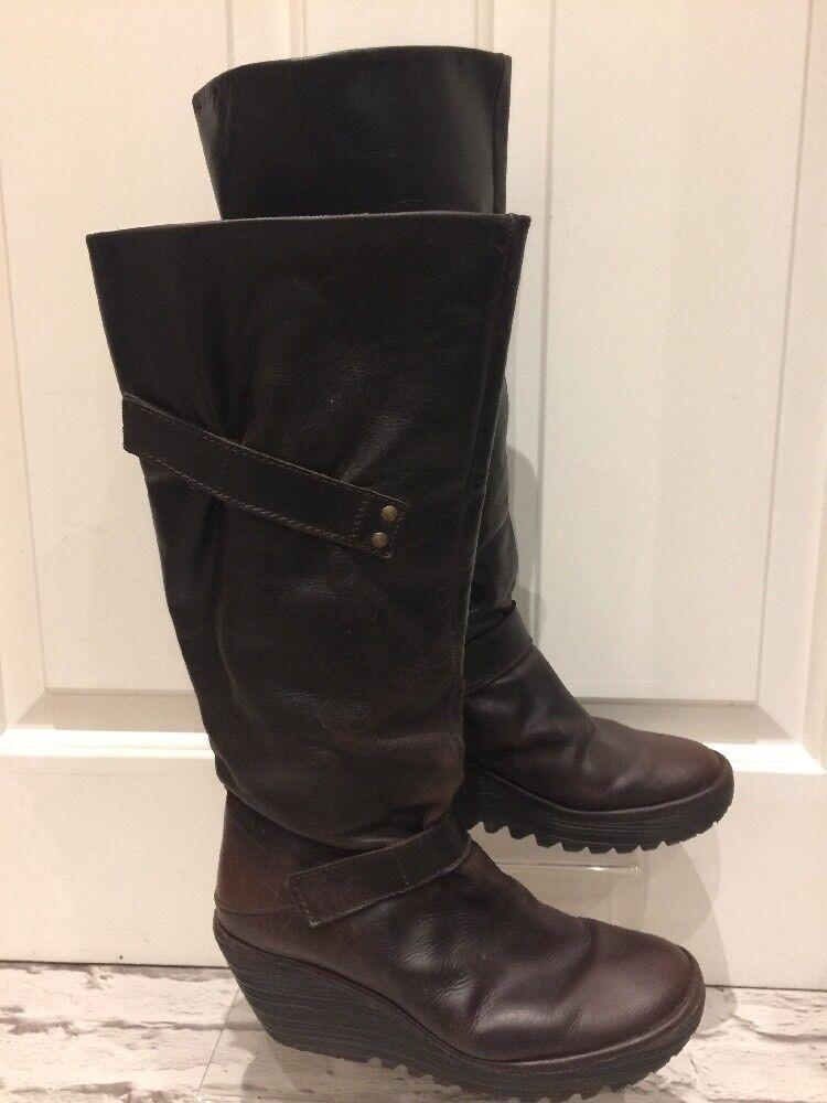 Damens's Braun Leder Fly London Stiefel Uk4 EU37 Calf Stiefel