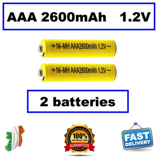 2pcs 1.2V Ni MH AAA 2600mAh Rechargeable Battery