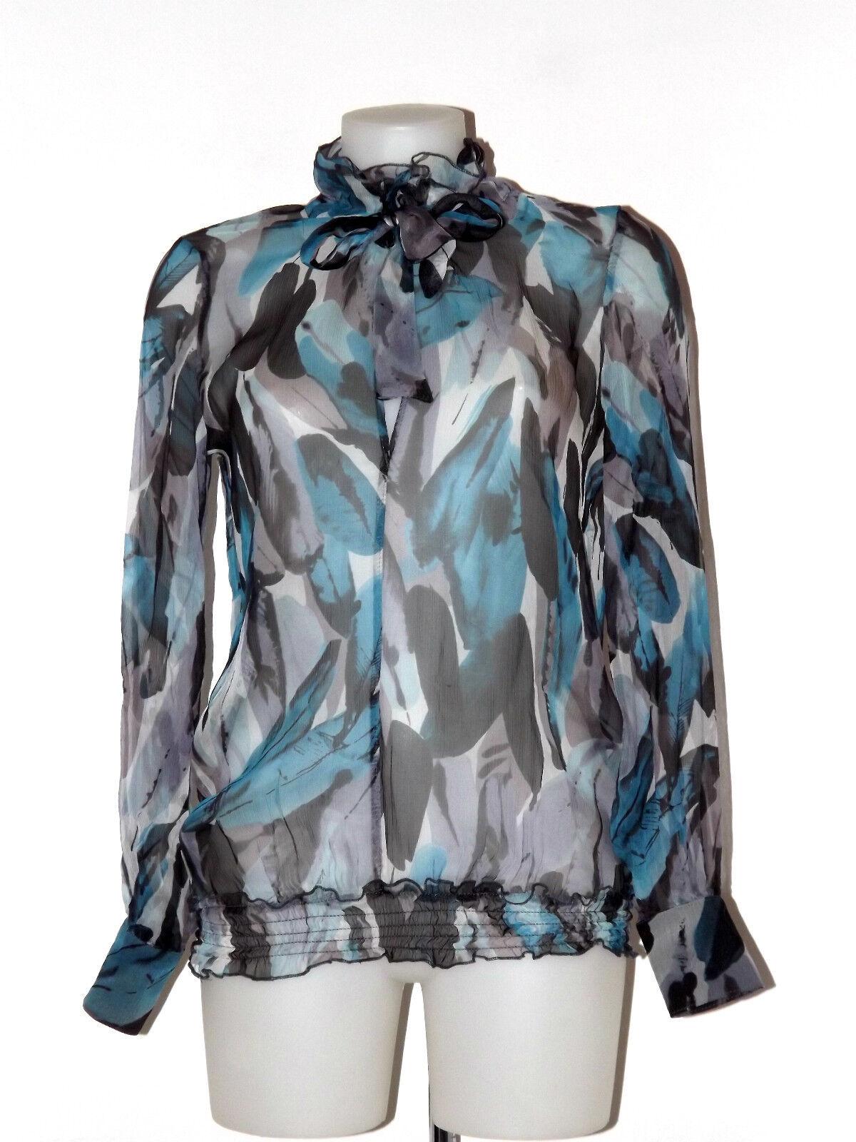 Koralline Hemd Seide GR. S Fantasie Grau Blau Schleifchen Curl Made in