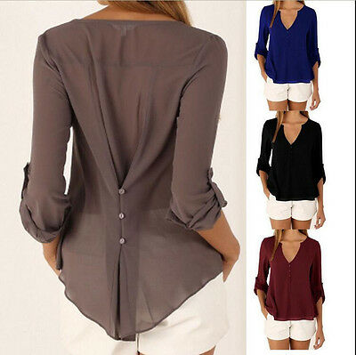 Women Casual Long Sleeve Top Shirt Loose V Neck Blouse Ladies T-shirts Oversized