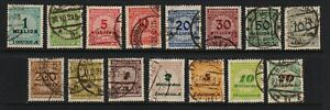 Germany - 15 used stamps from the 1923 set, see scan