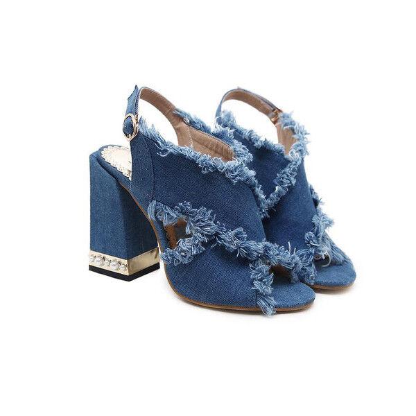 decolte 11 cm eleganti denim blu tacco quadrato  Sandaleei simil pelle 9932