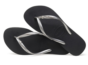 Havaianas Women`s Flip Flops Slim Crystal Glamour SW Sandals Black Any Size NWT