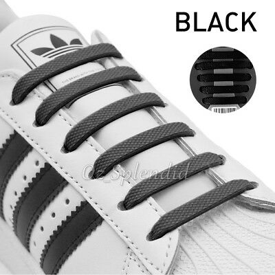 No Tie Elastic Shoelaces Kids Runner Trainer Unisex Sneakers Sport Shoe Laces