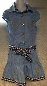 girls size 5/6 cotton Blue Dress Preppy BEVERLY HILLS POLO CLUB short sleeve