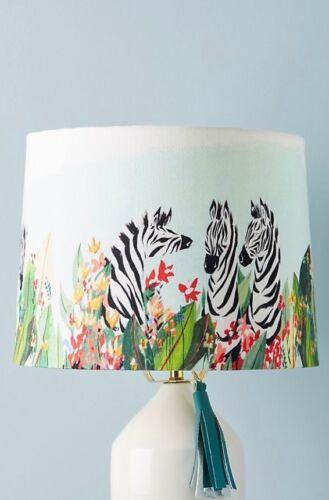 ANTHROPOLOGIE Watercolor Safari Lamp Shade Zebra Nursery  Lucy Eldridge  NWT