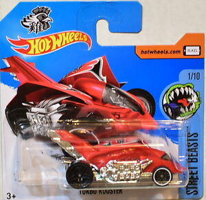 Marque Populaire Hot Wheels 2017 Rue Beasts Turbo Rooster #1/10 Rouge Court Carte Roues Erreur Performance Fiable