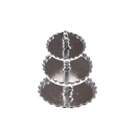 Silver 1//12 Dollhouse Miniature 3 layer Metal Desserts Snack Rack Stand Toy LF