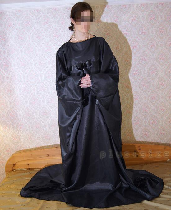 Kaftan Kimono Tunika Haus-Gewand Satin schwarz Armspannweite 170 cm Gr.S- XXXXL