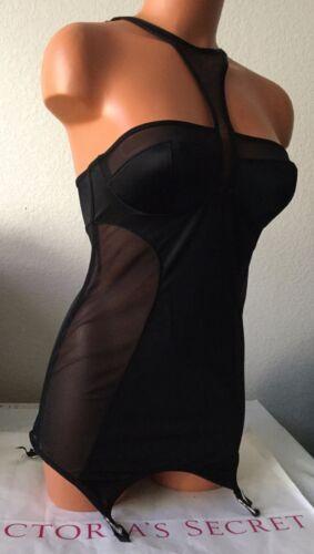 New Victoria/'s Secret 34B Body Black Lace Garter Slip Corset Bustier #2189