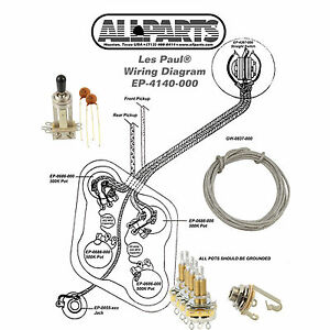 wiring kit gibson acirc reg les paul complete schematic diagram pots image is loading wiring kit gibson les paul complete schematic