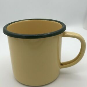 Enamel Cup Crow Canyon Camping Home Mug Vintage Style Colored Rim White Coffee