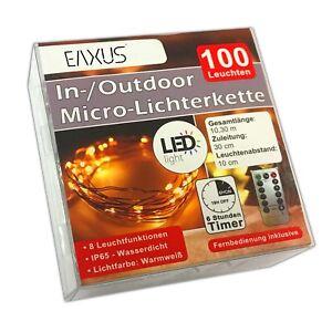 Batterie-Lichterkette-100-LED-Fernbedienung-amp-Timer-Leuchtdraht-Lichterdraht