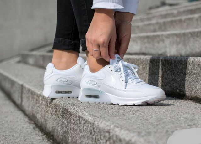 big sale bae58 5a41b Nike Air Max 90 Ultra Essential White White-Metallic Silver 724981 101 Wmn  Sz