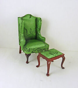 Image Is Loading Dollhouse Miniature Green Brocade Wingback Chair  Amp Ottoman