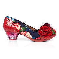 Irregular Choice Fantastic Low Vintage Red Navy Floral Croc Low Heel Court Shoes