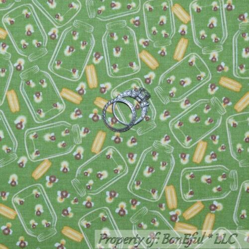 BonEful Fabric FQ Cotton Quilt Green Yellow Lightening Bug JAR Camp Cabin Calico