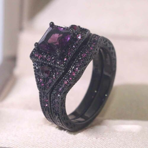 2 Rings Couple Rings Purple Cz Black Plated Tungsten Ring Mens Ring Womens Ring