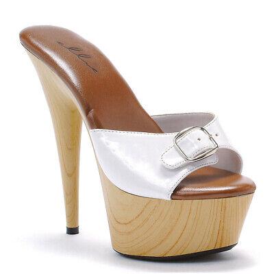Ellie Shoes Maultier Holz Schnallen Weiß Kostüm Plateau