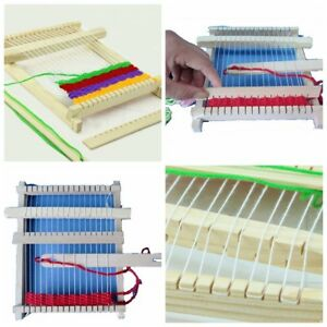 Wooden-Weaving-Toy-Traditional-Loom-with-Accessories-Childrens-Craft-Box-Hot