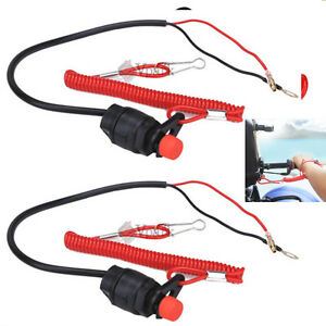 2pcs Motorcycle Boat Outboard Engine Kill Stop Switch with Safety Tether Lanyard