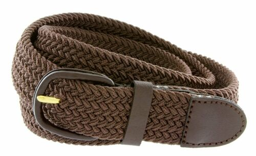 """Hagora Men Stretch Comfy Braided Fabric 1-1//4/"""" Wide Leather Covered Buckle Belt"""