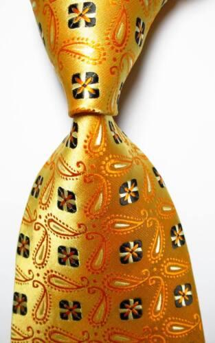 New Classic Paisley Gold Black White JACQUARD WOVEN 100/% Silk Men/'s Tie Necktie