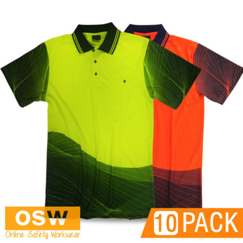 10 X HI VIS WORK COOL BREATHABLE WAVE SUBLIMATED TRADIE ORANGEYELLOW POLO SHIRT