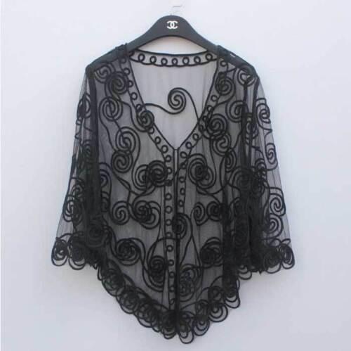 Sheer BOLERO SHRUG Handcraft cape coat Top amice cloke 8-18 16 Jacket 3D poncho