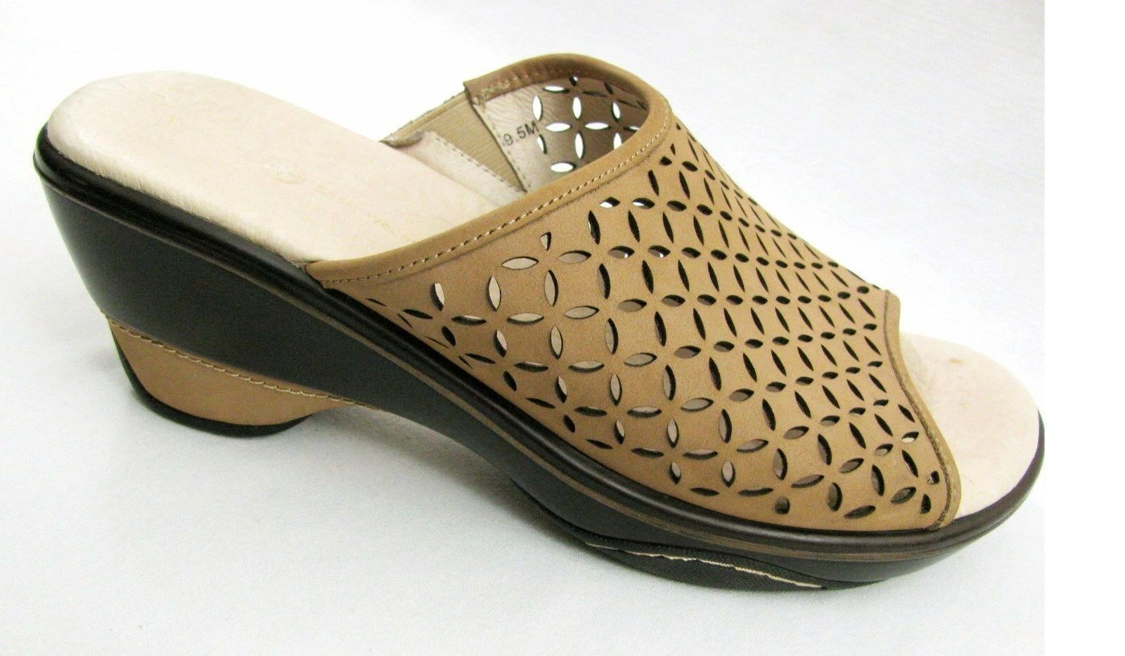 Jambu Nubuck Leather Ronnie Mule 9.5 Tan Brown Mesh Heel Sport Wedge shoes