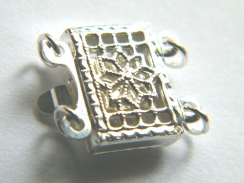 Plata Esterlina 2 Fila Fancy Filigrana Broche 4 pearls-beads ~ 7 X 10 Mm Doble Hebra