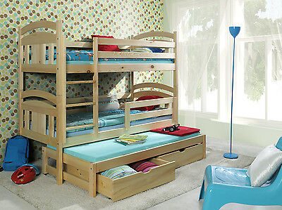 BUNK BED Children Kids solid 3 Sleeper mattresses trundle bed natural pine