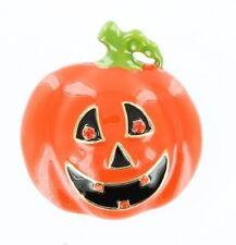 Black & Orange Enamel & Orange Crystal Pumpkin Pin