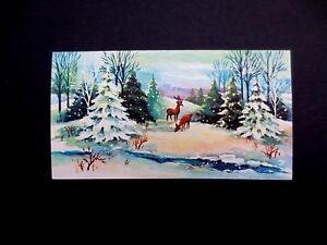 Vintage Unused Xmas Greeting Card Pair of Deer in Winter Landscape Grazing