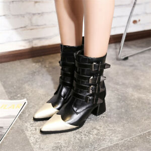 Women-039-s-Pointed-Toe-Buckle-Mid-calf-Boots-Strap-Chunky-Block-Heel-Casual-Shoes