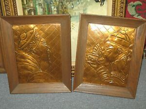 Image Is Loading Set 2 Vintage Embossed Hammered Copper Asian Picture