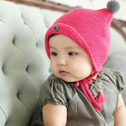 Warm Baby Hat Girl Boy Toddler Cotton Knitted Cap Cute Infant Bonnet Accessories