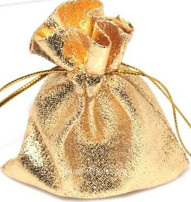 30pcs Gold Color Gift Bags Organza Jewelry Packing Pouch Wedding Favor