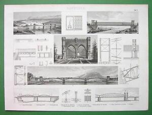 BRIDGES-Construction-Poland-Germany-Girder-Iron-Original-Print-Engraving