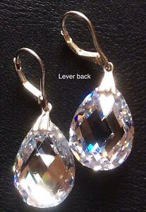 925-Sterling-Silver-Clear-Crystal-Pear-Teardrop-Dangle-Lever-back-Earrings-61